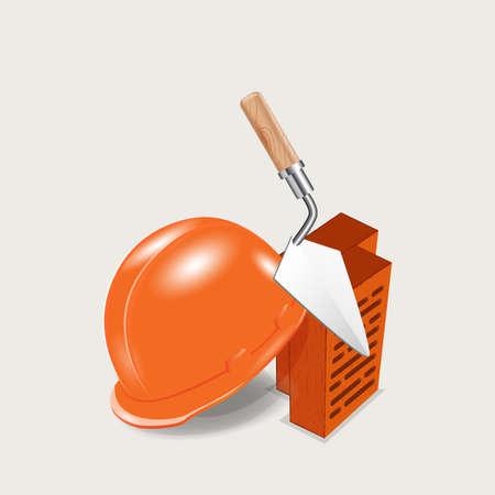 helmet and bricks at a construction site - vector