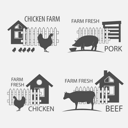 farm chicken, pork and cow, beef - vector illustrations Illustration