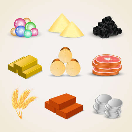 iron ore: Resource and food icons for games - vector Illustration