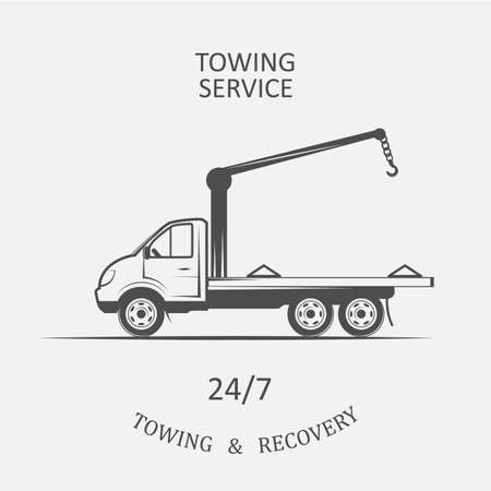recovery: truck for towing and recovery - vector illustration