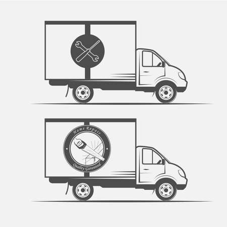 truck repair: truck advertising repair and construction -vector illustration