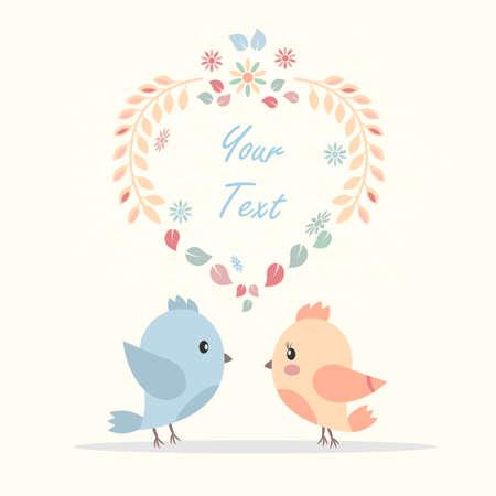 鳥の恋人の絵の美しいベクター グリーティング カード。結婚式、誕生日および他の休日の招待状カードとして使用できます。