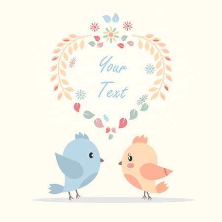 Beautiful vector greeting card with a picture of bird lovers. Can be used as invitation card for wedding, birthday and other holidays