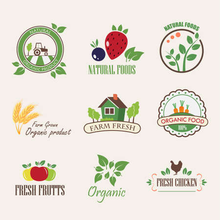 Set of badges and stickers for organic products