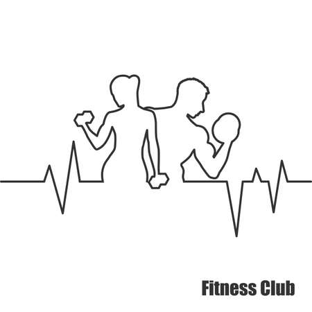 Fitness Center, label, pictogram - vector illustratie
