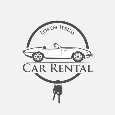 press agent: Car rental in vintage style - vector illustration