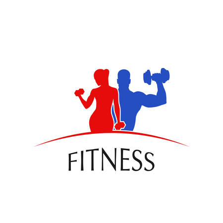 fitness club logo sport style vector illustration