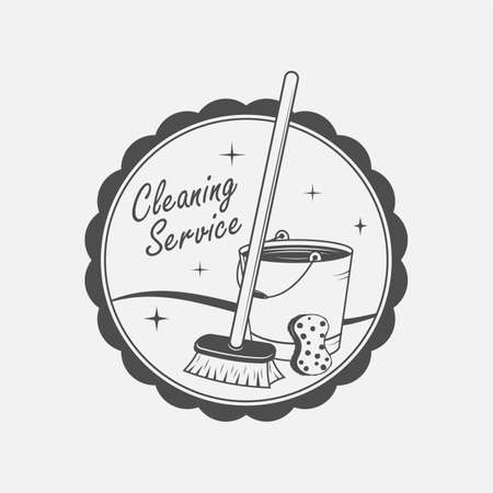 tidiness: cleaning service emblems, labels and design elements