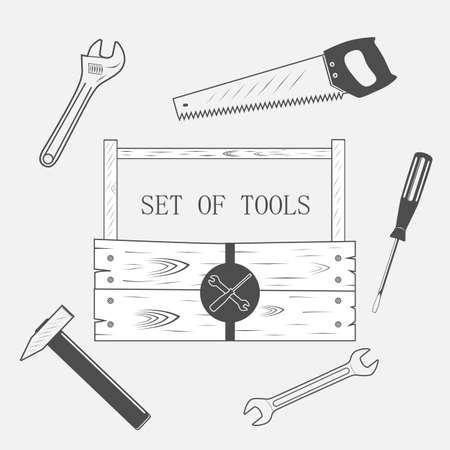 toolset: toolset, set of tool, wood box - vector illustration