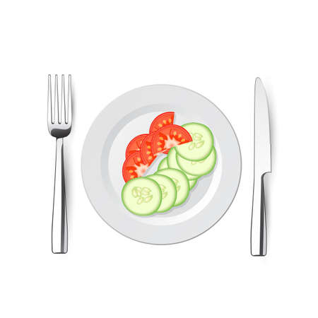 cucumbers: salad of cucumbers and tomatoes on plate with a knife and fork - vector illustration