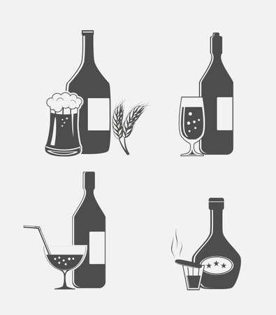 bebidas alcoh�licas: ilustraci�n de las bebidas alcoh�licas, cerveza, whisky vodka