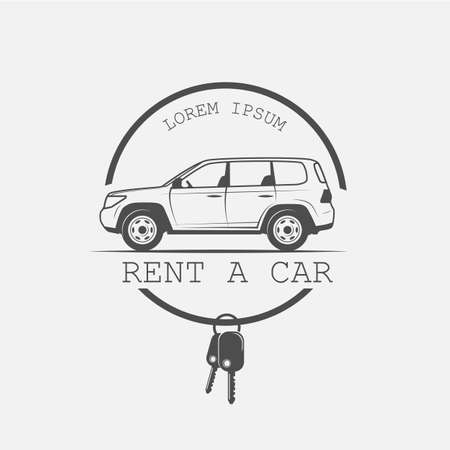 Logotipo de alquiler de coches en estilo vintage - ilustración vectorial