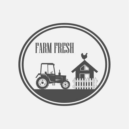 fresh produce: Fresh Farm Produce and logo tractor - vector illustration