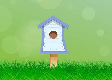 starling: Wooden birdhouse for birds for header design - vector illustration