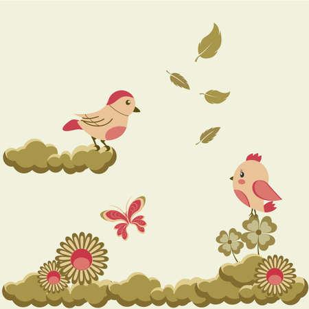 Designer pattern with butterflies and birds - vector illustration Illustration