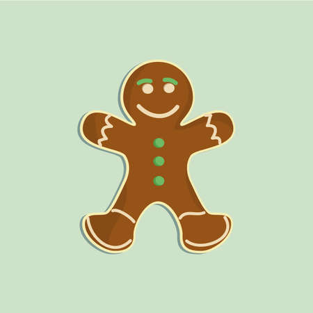 Gingerbread man decorated colored icing. Holiday cookie in shape of man. Qualitative vector illustration for new year day, christmas, winter holiday, cooking
