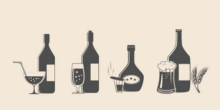 Alcohol black icons set with drink bottles and glass shots isolated vector illustration Stok Fotoğraf - 67919106