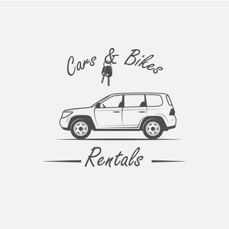 key handover: Car rental in vintage style - vector illustration