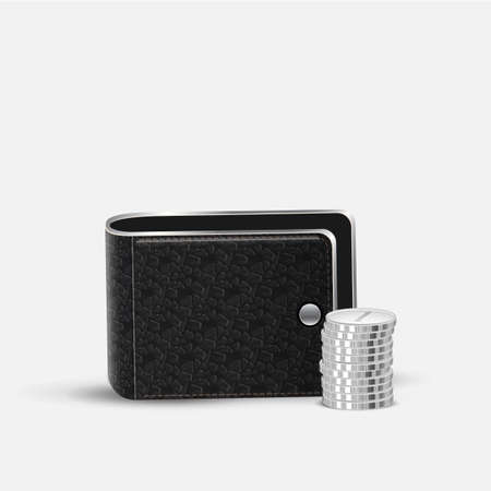 residue: Realistic vector stacks coins and Leather Wallet. Business and finance