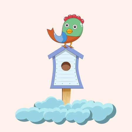 Bird sitting on birdhouse picture vector illustration