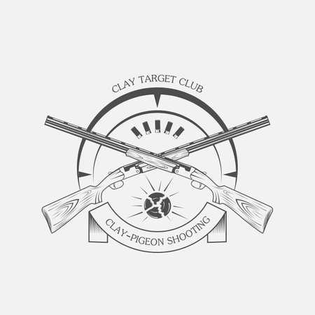 ビンテージの粘土ターゲットと銃クラブのラベル。粘土スキート、ベクトル