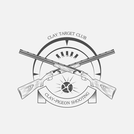 vintage clay target and gun club labels. Clay skeet, vector Illusztráció