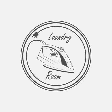 laundry room: laundry room, electric iron vector icon - vector Illustration