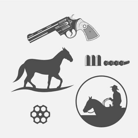 gun holes: wild west icons set -cowboy head, horse, gun