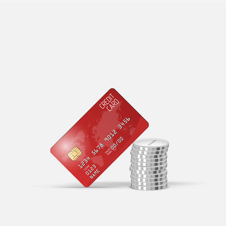 residue: Realistic vector credit card and stacks coins. Business and finance