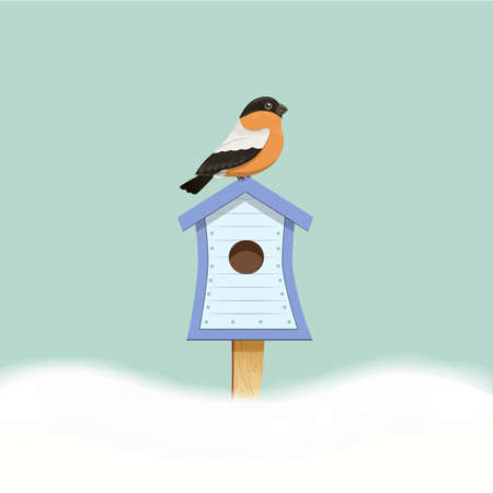 Bird sitting on birdhouse picture, vector illustration for design and postcards