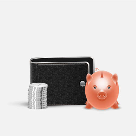 Realistic vector Piggy bank money box, stacks coins and Leather Wallet. Business and finance