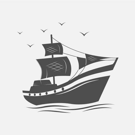 galley: Sailing ships on the sea isolated. Vector illustration