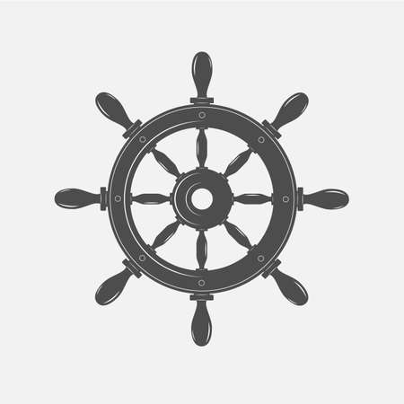 Boat steering wheel vector icon on white background.