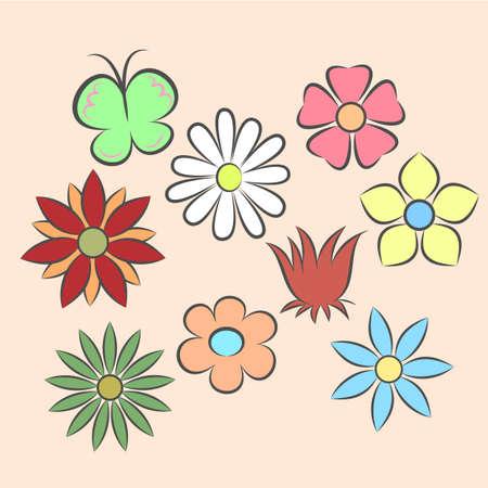 orange rose: Set of flat icon flower icons