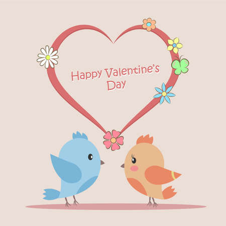 Illustration of Love birds sitting on the heart. Postcard to Valentines Day