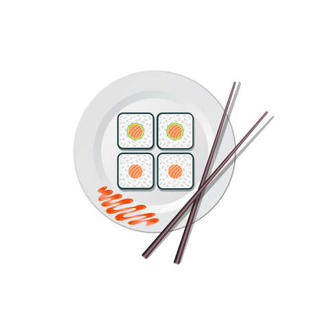 Sushi and chopsticks sushi lying on a plate - vector illustration