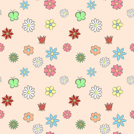 classic seamless vintage flower pattern on colored background