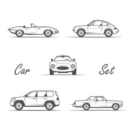 set of cars in vintage style - vector illustration