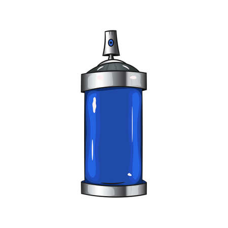 Vector cartoon aerosol sprays with blue paint. Graffiti spray paint