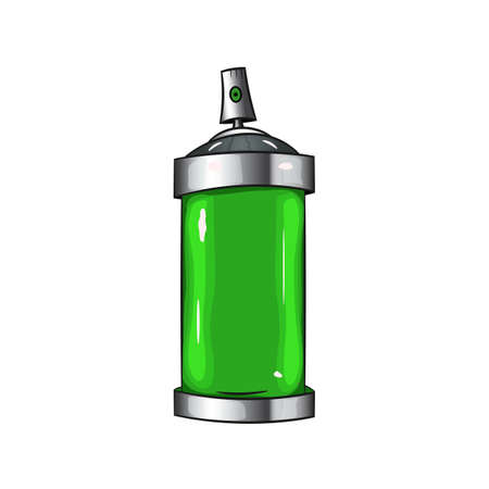 paint can: sprays with green paint. Graffiti spray paint