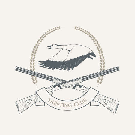 Gray duck hunting with shotguns icon - vector illustration.
