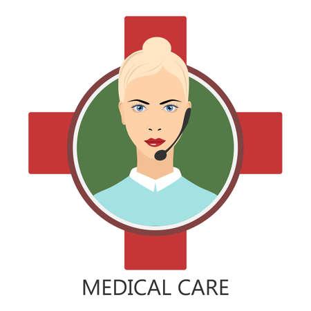Medical user support . Medical service - vector illustration Illustration