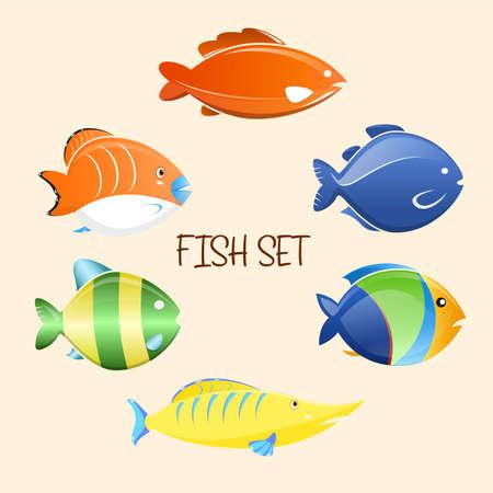 Fish cartoon set. Vector Illustration icons.
