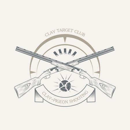 vintage clay target and gun club labels Vektoros illusztráció