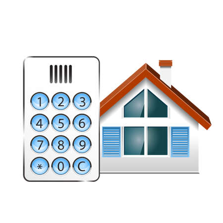 house call: Vector illustration of a Intercom, doorphone, and at house