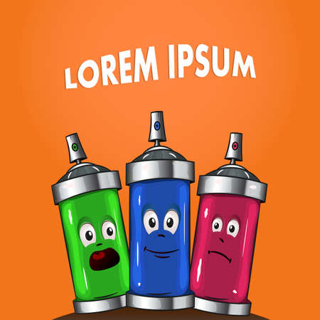 Colored cans with paint. Spray for painting on orange background - vector clipart