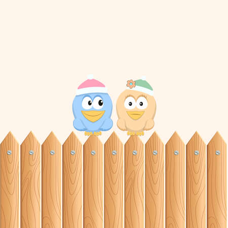birds sitting on the wooden fence