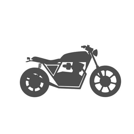 Motorcycle icon or sign. Vector black silhouette of bike or motorcycle. Illustration