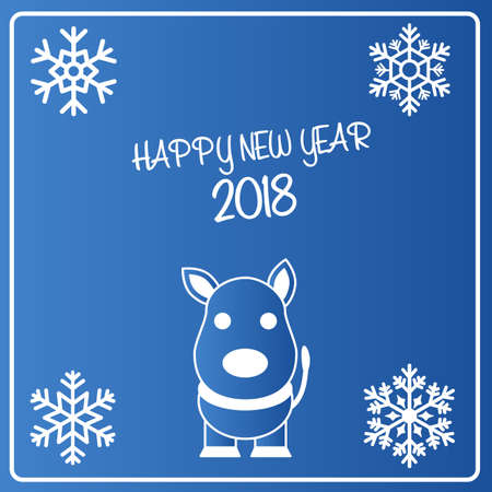 christmas greeting card: Christmas and New Year card. New 2018 year of the dog on the eastern calendar