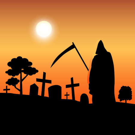 death silhouette standing in graveyard - vector illustration